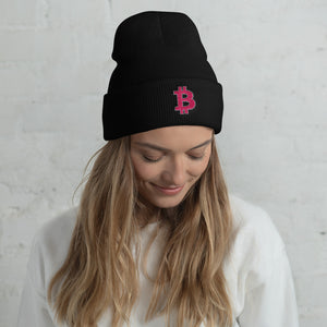 female model wearing black yupoong beanie