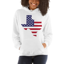 Load image into Gallery viewer, The State of Texas Map With US Flag, Hooded Sweatshirt Unisex