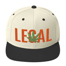 Load image into Gallery viewer, Cannabis Leaf Legal Text Orange, Snapback Hat