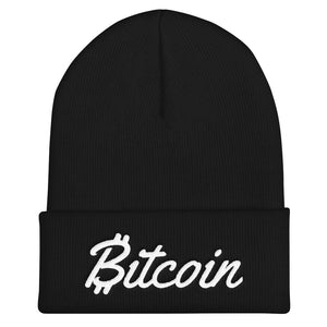 Bitcoin Text With Script Letters White, Unisex Cuffed Beanie