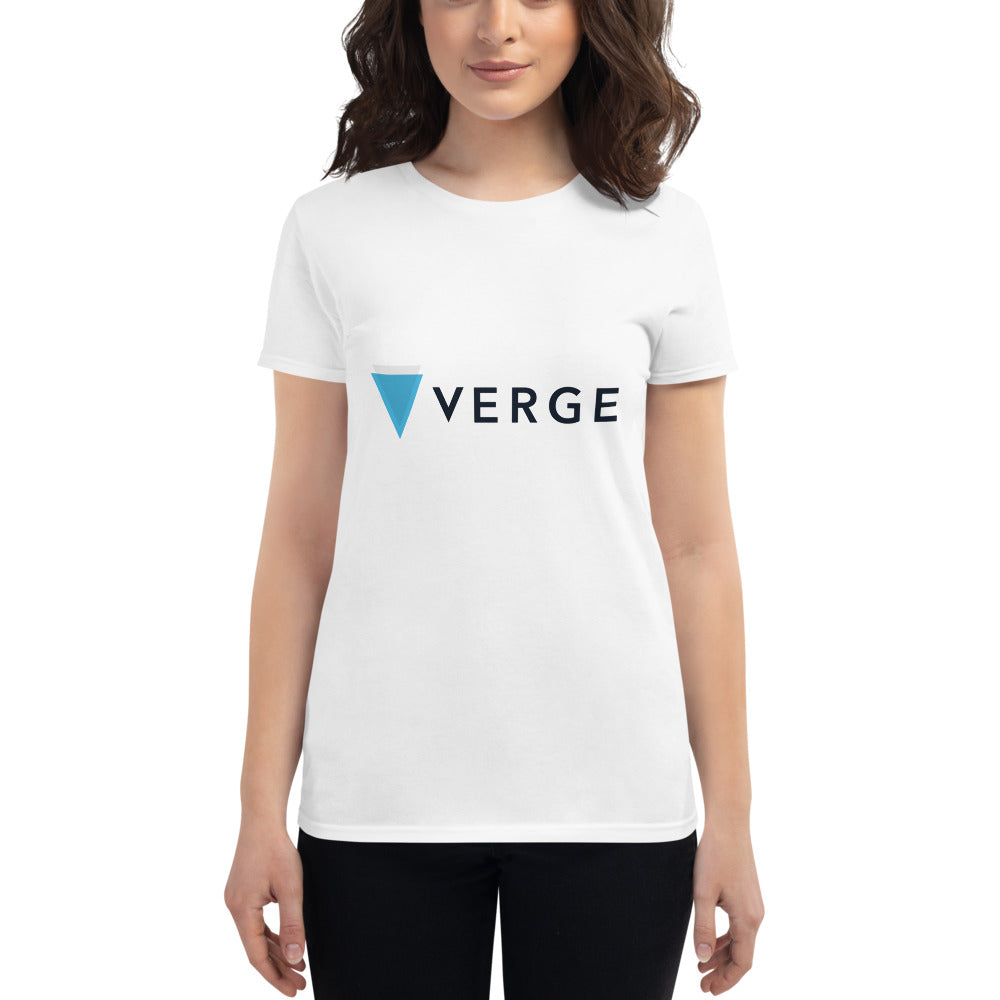 Verge Cryptocurrency Logo, Women's Short Sleeve T-shirt White