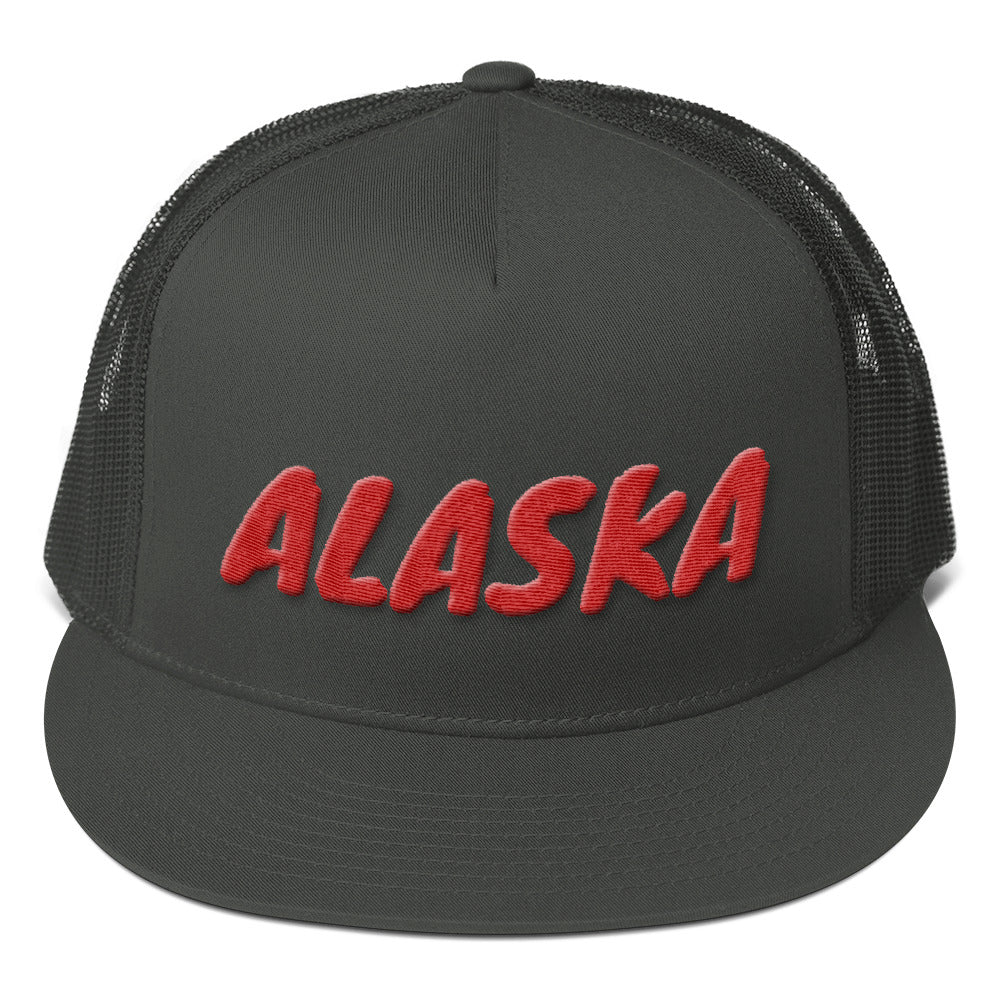 Alaska Text Red 3D Puff, Mesh Back Snapback Hat CHARCOAL GRAY
