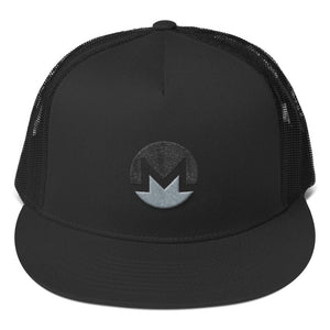Monero Cryptocurrency Logo Black and Gray 3D puff, Trucker Cap