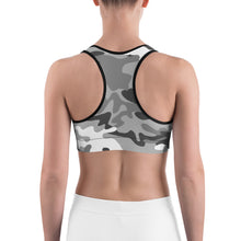 Load image into Gallery viewer, Camouflage Pattern Gray Print, Women's Sports Bra zee
