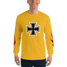 Load image into Gallery viewer, Maltese Cross Flames, Men's Long Sleeve T-Shirt