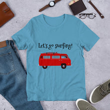 Load image into Gallery viewer, Red Van Let's Go Surfing Text, Unisex Short Sleeve Jersey T-Shirt