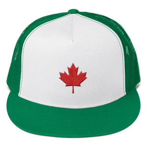 Canada Flag Maple Leaf Red 3D Puff, Trucker Cap