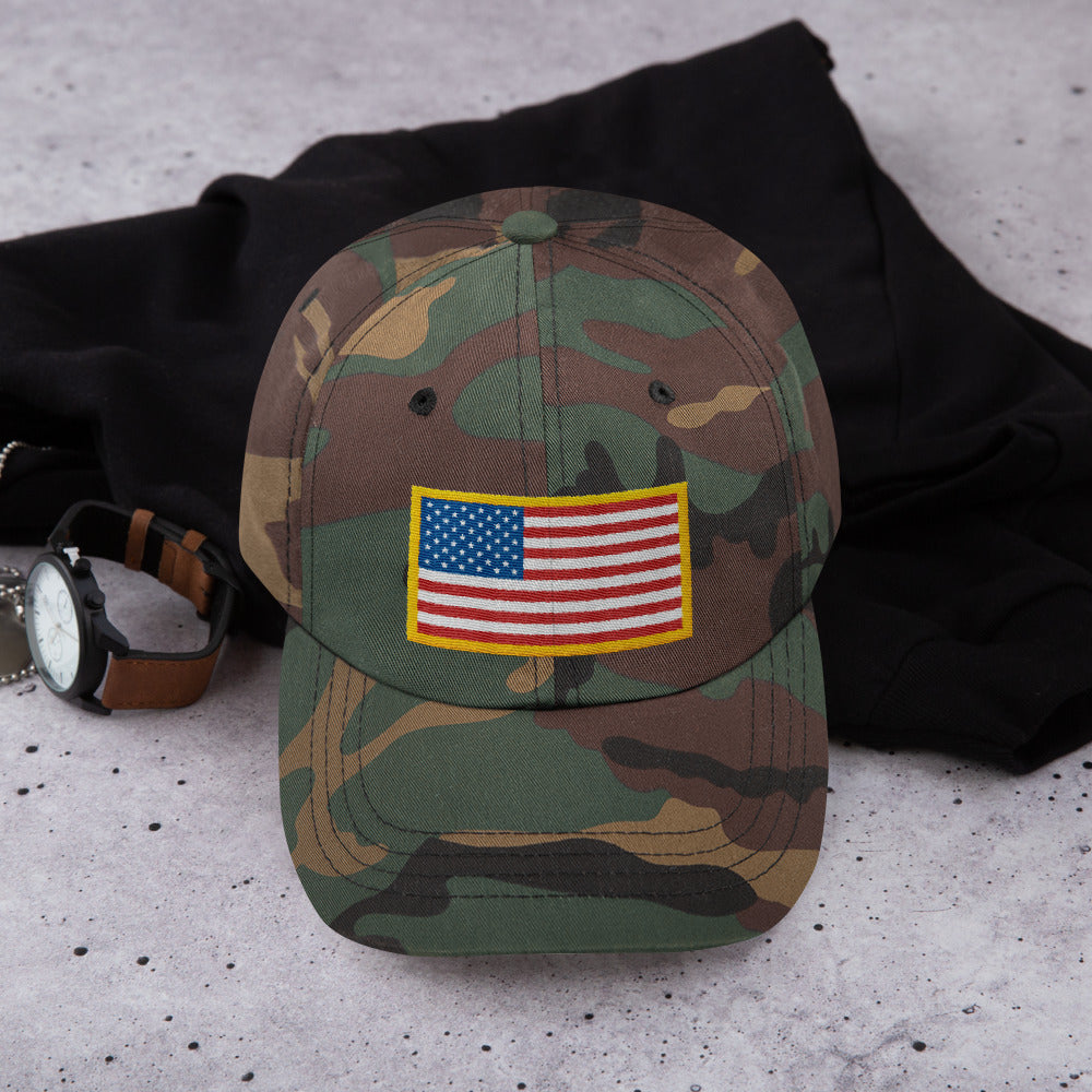 Green Camo US Flag Patch Style, Dad hat Unisex