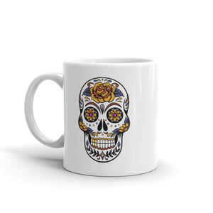 Mexican Style Death Skull, White Glossy Coffee Mug