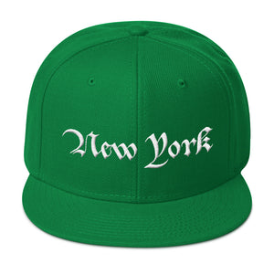 New York Text 3D Puff, Wool Blend Snapback Hat