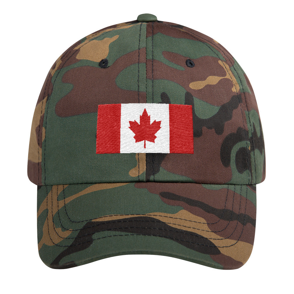 Canada Flag, Classic Dad Hat GREEN CAMO