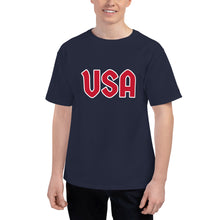 Load image into Gallery viewer, USA Text, Printed Men's Champion Premium T-Shirt