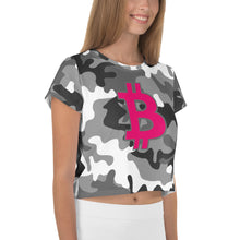 Load image into Gallery viewer, Bitcoin BTC Symbol 09 Hot Pink, Crop Tee Camouflage