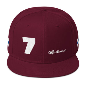 Motorsport Number 7 Alfa Romeo With Flag of Finland, Snapback Hat BURGUNDY MAROON