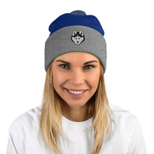 Load image into Gallery viewer, Husky Face, Embroidered Pom-Pom Beanie