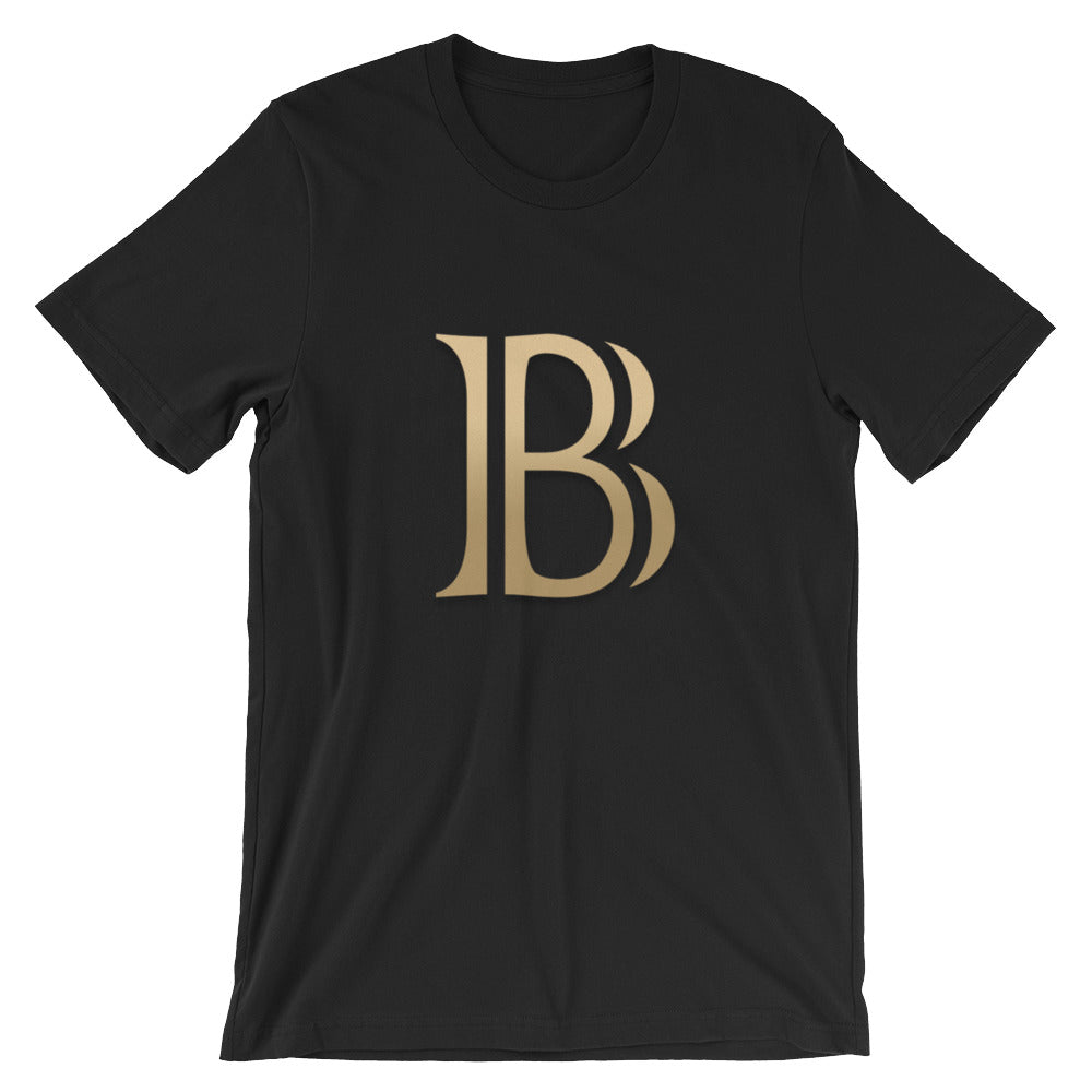 BlackCoin BLK Cryptocurrency Logo Gold, Unisex Short Sleeve Jersey T-Shirt