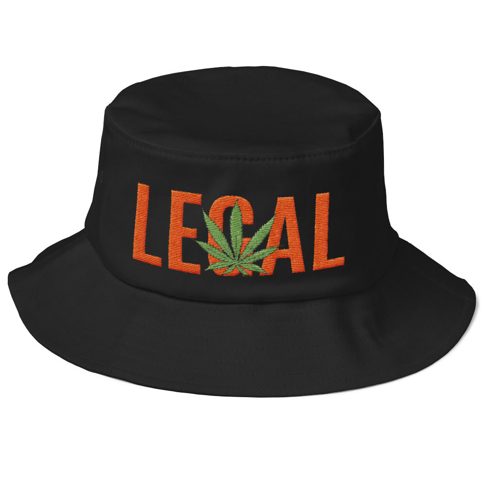 Cannabis Leaf Legal Text Orange, Old School Bucket Hat