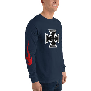 Maltese Cross Flames, Men's Long Sleeve T-Shirt
