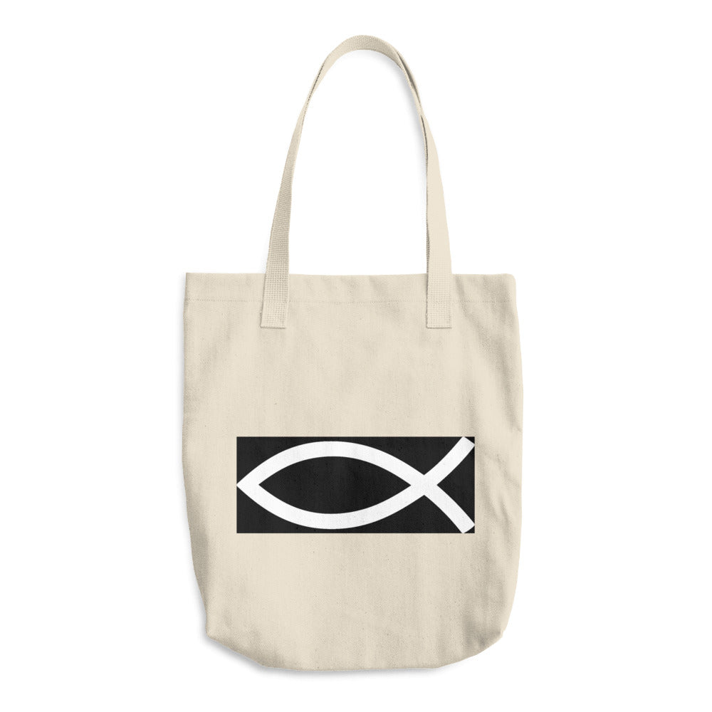 Christian Symbol Ichthys Fish BW, Denim Woven Cotton Tote Bag