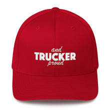 Load image into Gallery viewer, Trucker and Proud Text White, Baseball Cap