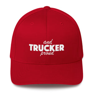 Trucker and Proud Text White, Baseball Cap