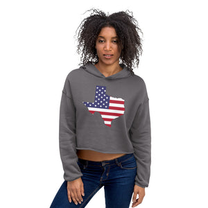 Texas State Map With US Flag, Women's Crop Hoodie