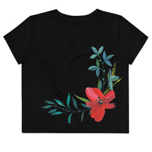 Load image into Gallery viewer, Hand Painted Flowers Women's Crop Tee Black Back