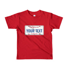 Load image into Gallery viewer, Design Your Own California State License Plate, Short Sleeve Kids T-shirt