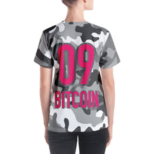Load image into Gallery viewer, Bitcoin BTC Symbol 09 Hot Pink, Women's V-neck T-shirt Camouflage Back