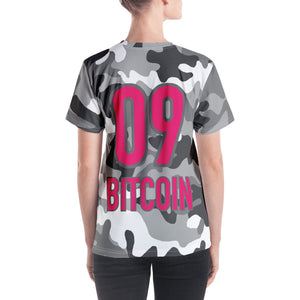 Bitcoin BTC Symbol 09 Hot Pink, Women's V-neck T-shirt Camouflage Back