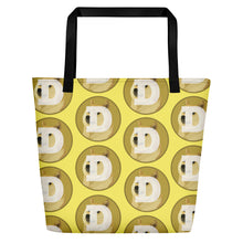 Load image into Gallery viewer, Dogecoin Logo Pattern Yellow, Beach Bag