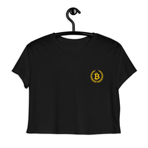Bitcoin BTC Symbol Wreath, Embroidered Crop Tee Black