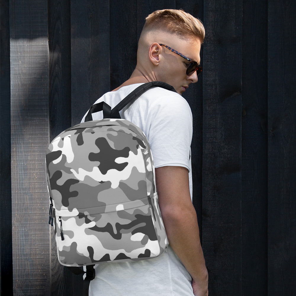 Camouflage Pattern Gray Print, Backpack