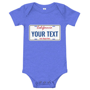 Design Your Own California State License Plate, Baby Bodysuit