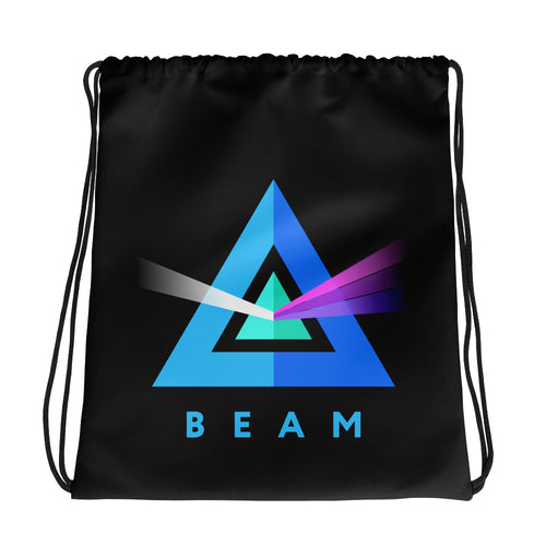 Beam Cryptocurrency Logo, Drawstring Bag Black