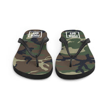 Load image into Gallery viewer, Fuck Off Square White Camouflage, Unisex Flip-Flops