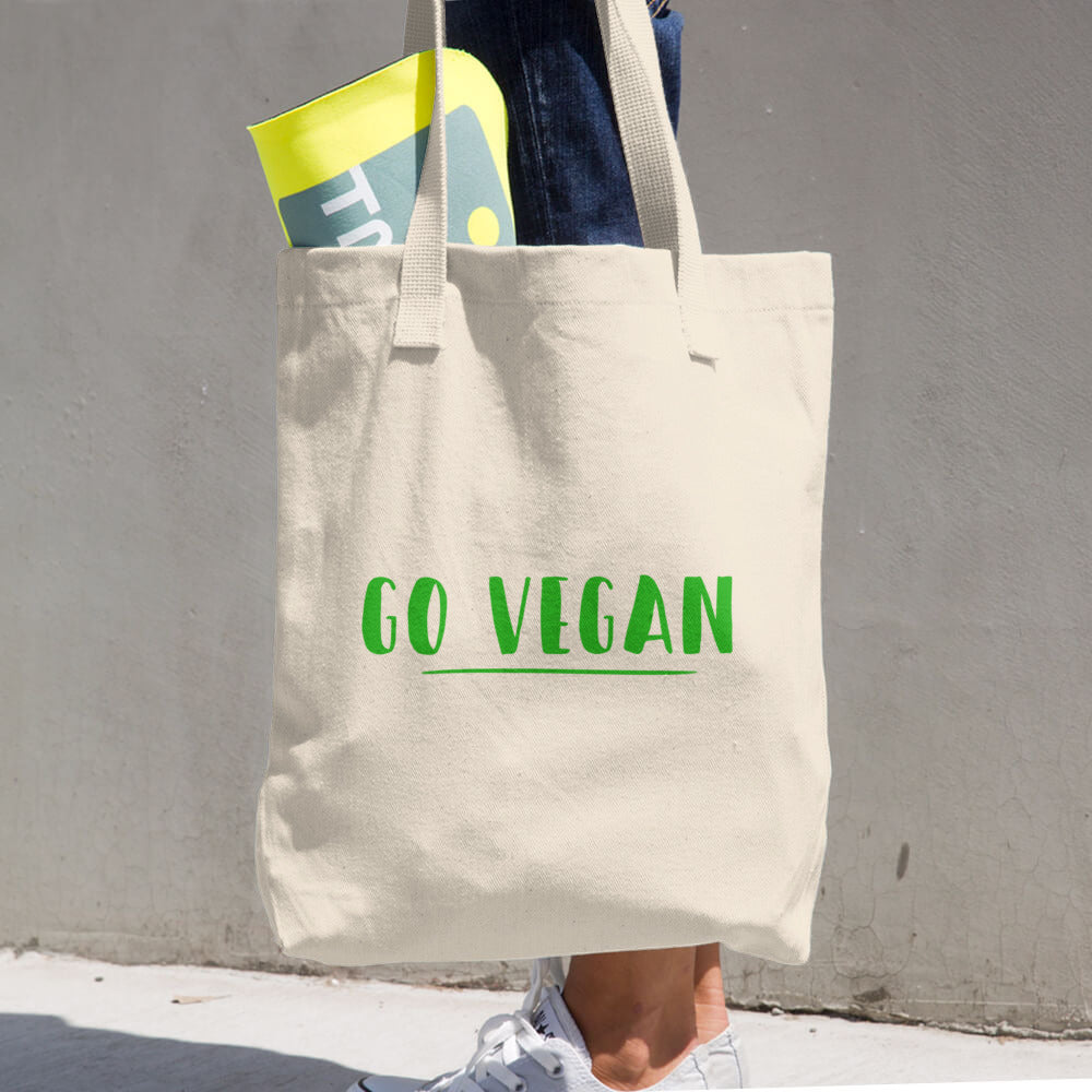 Go Vegan Text Green, Bull Denim Woven Cotton Tote Bag