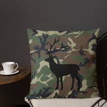 Load image into Gallery viewer, Deer Silhouette Black Camouflage Pattern Print, Premium Pillow