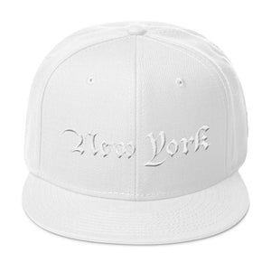 New York Text 3D Puff, Wool Blend Snapback Hat WHITE