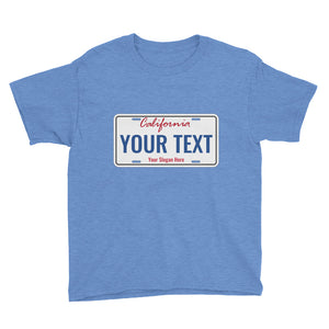 Design Your Own California State License Plate, Youth Short Sleeve T-Shirt