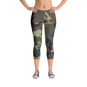 Camouflage Pattern Print, Women's Hot Capri Leggings