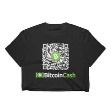 Load image into Gallery viewer, Customizable Bitcoin Cash Address QR Code, Women's Crop Top Black