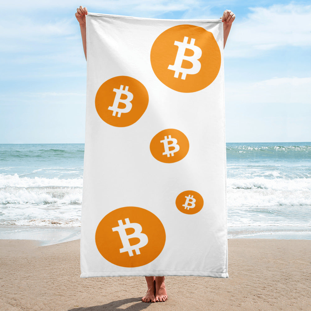 Bitcoin Cryptocurrency Multi Logo, Towel WHITE