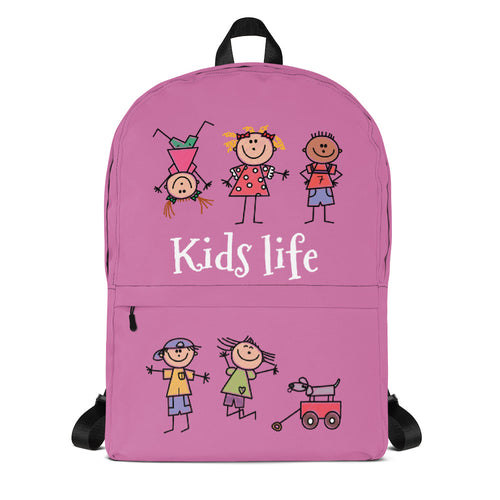Kids Life Cartoon Style, Backpack Pink