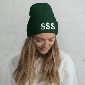 3 USD Dollar Sign White, Unisex Cuffed Beanie