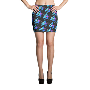 Beam Cryptocurrency Logo Pattern, Mini Skirt Black