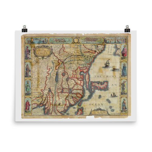 Old Map Of China 1626 Premium Luster Photo Paper Poster