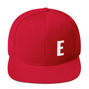 Alphabet Letter E, Snapback Hat Red