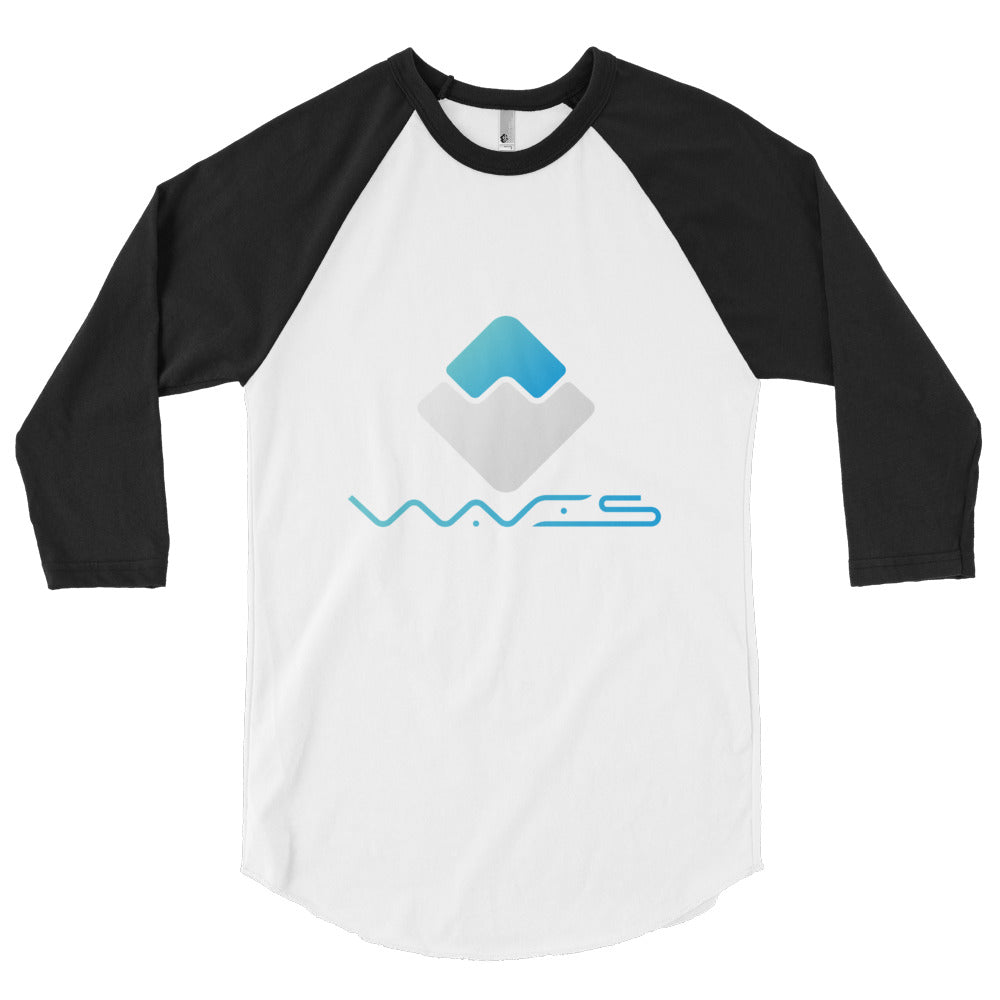 Waves Crypto Currency Logo With Text, Men's 3/4 sleeve raglan shirt