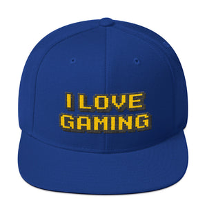 I Love Gaming Text Gold, Classic Wooled Snapback Hat